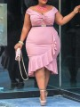 Pink Off Shoulder Ruffle Irregular High-Low Plus Size Bodycon Party Maxi Dress