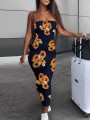 Black Sunflower Print Bandeau Ruched Bodycon Casual Maxi Dress