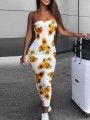 White Sunflower Print Bandeau Ruched Bodycon Casual Maxi Dress