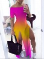 Red Tie Dyeing Off Shoulder Thigh High Side Slits Casual Bohemian Beach Maxi Dress