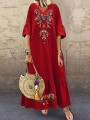 Red Floral Embroidery Print V-neck Short Sleeve Mexico Flowy Maxi Dress