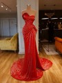 Red Sequin Bandeau Off Shoulder Mermaid Sparkly NYE Banquet Birthday Party Maxi Dress