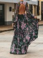Blue Pink Floral Backless Round Neck Long Sleeve Flowy Elegant Maxi Dress