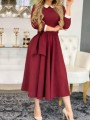 Burgundy Patchwork Sashes Pockets 3/4 Sleeve Peter Pan Collar Elegant Party Maxi Dress