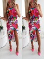 Red-White Floral Fashion Comfy Going out One Piece Midi Dress