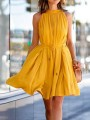 Yellow Patchwork Belt Big Swing Sleeveless Fashion Midi Dress