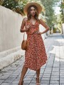 Orange Polka Dot Irregular Draped V-neck Bohemian Midi Dress