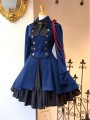 Blue Patchwork Buttons Bow Vintage Long Sleeve Fashion Midi Dress