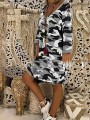 Grey Camouflage Bodycon Comfy V-neck Long Sleeve Going out Midi Dress