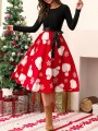 Red Black Christmas Floral Sashes Bow Long Sleeve Fashion Midi Dress