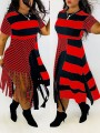 Red-Black Striped Patchwork Tassel Round Neck Short Sleeve Big Swing Casual Midi Dress