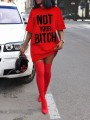 "Red ""NOT YOUR BITCH"" Short Sleeve Round Neck Casual Mini Dress"