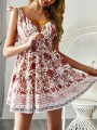 Beige Floral Knot Wavy Edge Bodycon Skater Mini Dress Going out Mini Dress