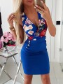Blue Floral Studded Pockets Bodycon Deep V-neck Fashion Mini Dress