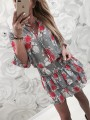 Grey Print Going out Comfy Fashion One Piece mini dress