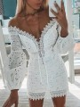 White Patchwork Lace Lace Up Off Shoulder Hip Bodycon Puff Sleeve Fashion Mini Dress