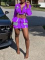 Purple Patchwork Zipper Turndown Collar Two Piece Reflective Clubwear Party Mini Dress