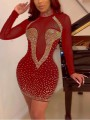 Red Patchwork Grenadine Irregular Rhinestone Sparkly Bodycon Party Mini Dress