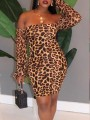 Brown Leopard Draped Off Shoulder Backless Lantern Sleeve Bodycon Party Mini Dress