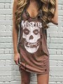 Brown Skull Pattern Ripped U-neck Sleeveless Fashion Mini Dress