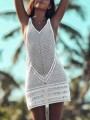 White Patchwork Cut Out V-neck Sleeveless Fashion Mini Dress