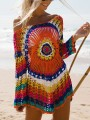 Red Patchwork Cut Out Long Sleeve Cover Up Bikini Smock Fashion Mini Dress