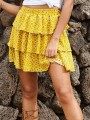 Yellow Floral Ruffle A-line High Waisted Fashion Summer Skirt