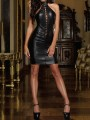Black Lace-up Halter Neck Hooded Bodycon PU Leather Latex Patent Rubber Party Mini Dress