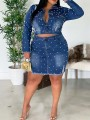 Dark Blue Pearl Buttons Pockets Two Piece Bodycon Denim Long Sleeve Party Mini Dress