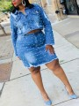 Light Blue Pearl Buttons Pockets Two Piece Bodycon Denim Long Sleeve Party Mini Dress