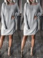 Grey Comfy Bodycon Long Sleeve Going out Mini Dresses