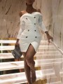 White Off Shoulder Buttons Front Slit Bodycon Party Mini Dress