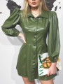 Green Buttons Pleated PU Leather Latex Rubber Long Sleeve Party Mini Dress