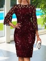 Burgundy Patchwork Grenadine Sequin Bodycon Sparkly Glitter Birthday Party Mini Dress