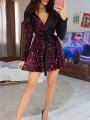 Dark Red Patchwork Sequin Pleated Belt Sparkly Glitter Birthday Homecoming Party Mini Dress
