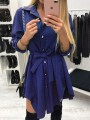 Navy Blue Belt Buttons High-low Turndown Collar Long Sleeve Fashion Mini Dresses