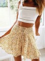 Yellow Floral Print Elastic Waist Fashion Skirt