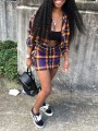Blue-Yellow Plaid Print Buttons Pockets Turndown Collar Long Sleeve Two Piece High Waisted Preppy Style Mini Dress