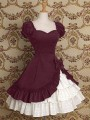 Burgundy Patchwork Cascading Ruffle Lolita Drapery Tiered Bow Cosplay Costume Medieval Frill Frock Dress