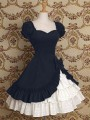 Blue Patchwork Cascading Ruffle Lolita Drapery Tiered Bow Cosplay Costume Medieval Frill Frock Dress