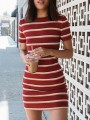 Red White Striped Print Round Neck Short Sleeve Fashion Mini Dress