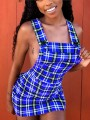 Navy Blue Plaid Print Pockets Zipper Shoulder-Strap Buttons Backless Bodycon Clubwear Hot Cute Overall Mini Dress