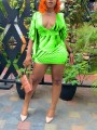 Neon Green Tie Dyeing Deep V-neck Bell Sleeve Bodycon Party Mini Dress