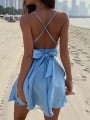 Sky Blue Bow Backless Tie Back Cocktail Party Mini Dress