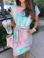 Blue Pink Tie Dye Colorful Sashes Pocket Short Sleeve Summer Mini Dress