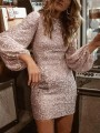 Rose Gold Sequin Puff Sleeve Christmas NYE Sparkly Banquet Party Mini Dress