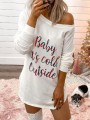 White Monogram Baby It's Cold Outside Pattern One-Shoulder Casual Mini Dress