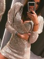Silver Sequin Deep V-neck Bodycon Sparkly Glitter Wedding Banquet Party Mini Dress