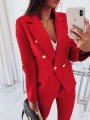 Red Patchwork Pockets Buttons Others Long Sleeve Fashion Outerwears
