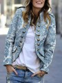 Blue Floral Buttons Band Collar Long Sleeve Fashion Suit